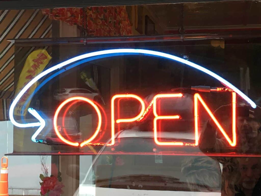 The open sign at Otis Cafe