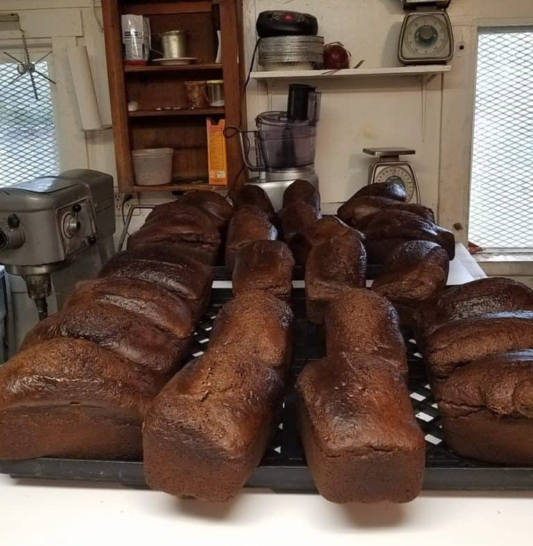 A big tray of cooling molasses bread