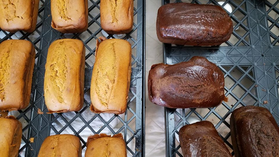 Bread fresh out of the oven, cooling off.